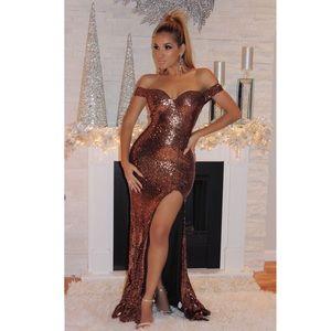 Off the Shoulder Sequined Bronze Dress